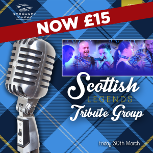Microphone with a trartan backround and a group image of the band members of Scottish Legends tribute act, £15 at the Normandy hotel. 30th of March 2018