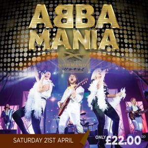Two women and a man standing on stage dressed like Abba, Performing. Abba Mania £22 at the Normandy Hotel.