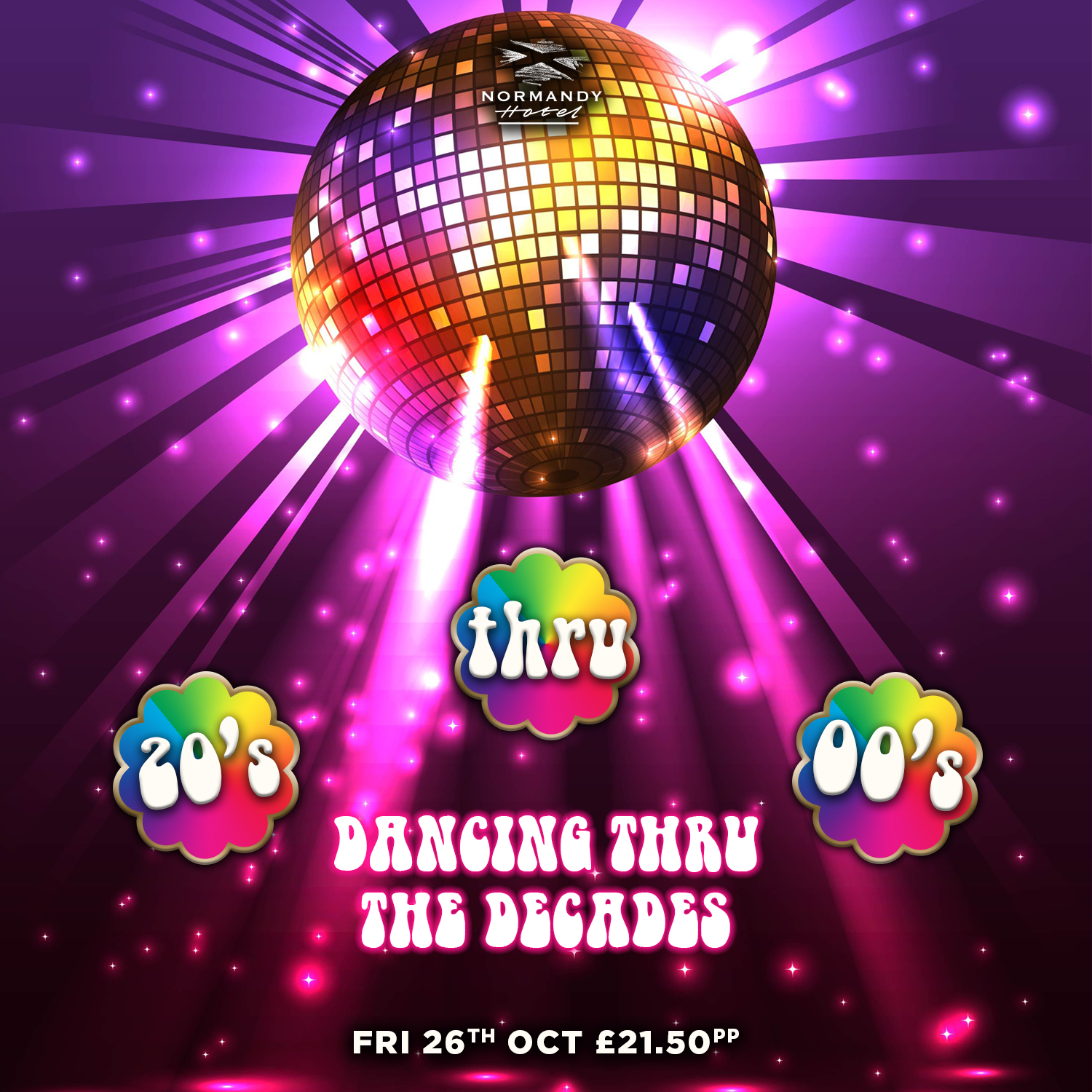 Disco ball, shinning down, with 20's thru 00's air bubbles. Dancing Thru the Decades, tribute night at the Normandy Hotel, 26th October 2018, £21.50 per person