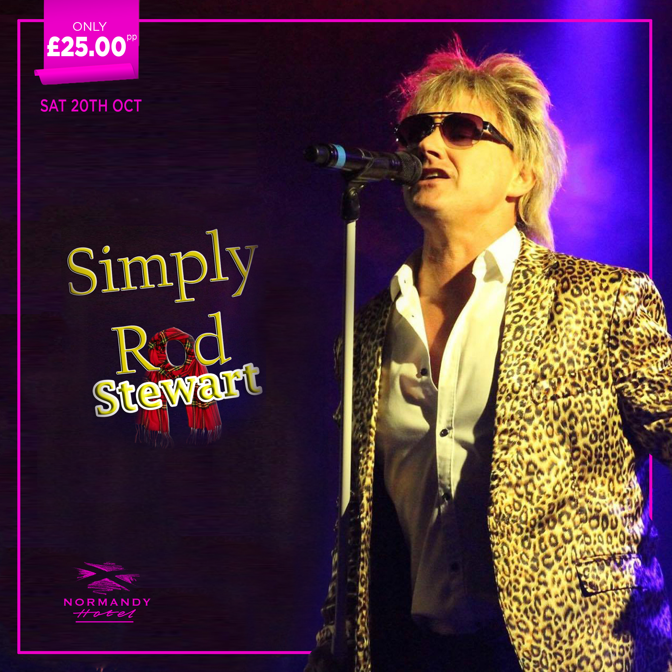 Man dressed as Rod Stewart singing in front of a microphone, Simply Rod Stewart. Tribute Night at the Normandy Hotel, 20th October 2018, £25 per person