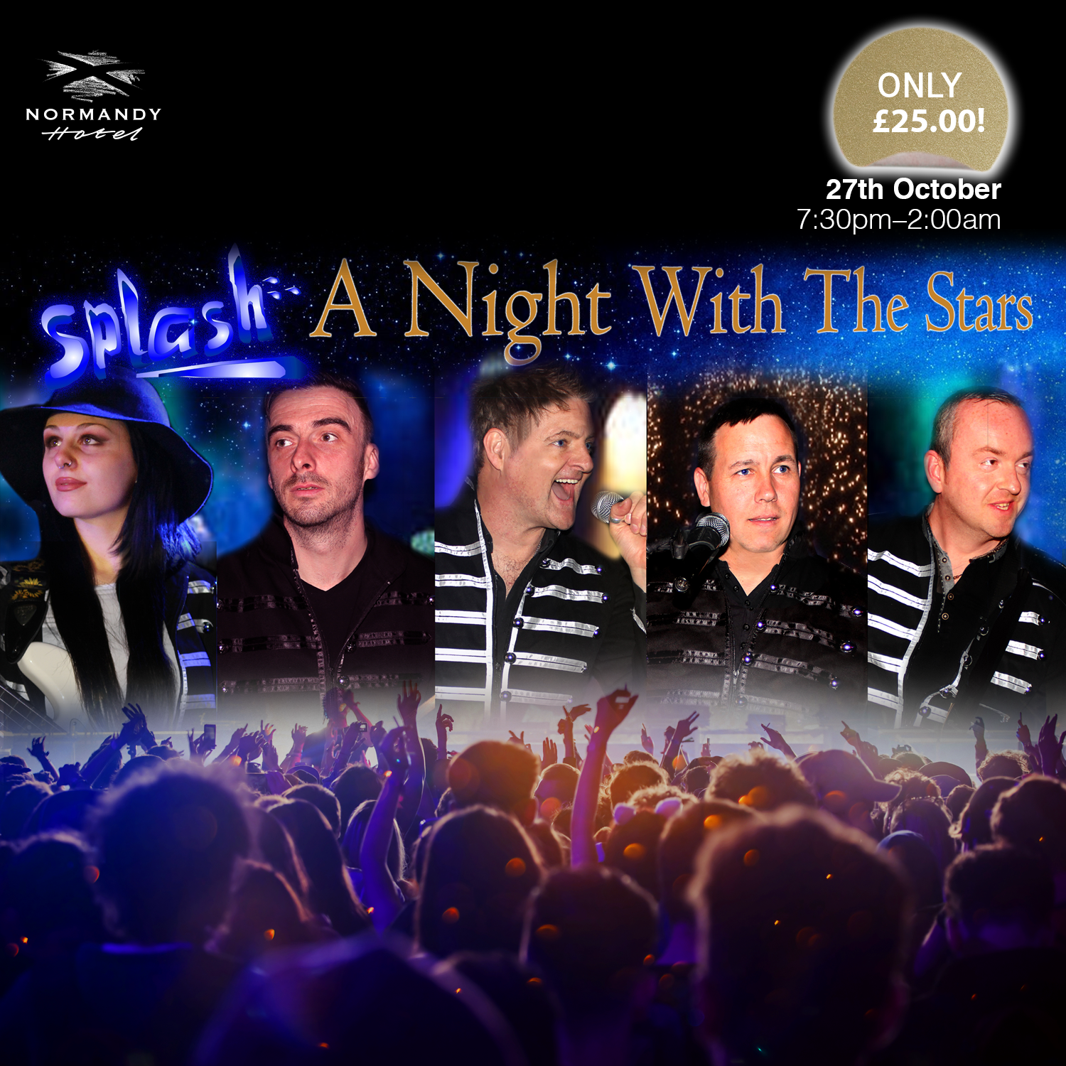 four men and a women singing, A Night with the Stars! Tribute show at the Normandy Hotel, 27th October 2018, £25 per person.