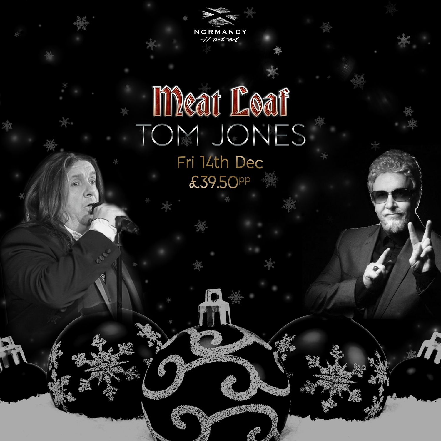 Two men, one singing, the other wearing sun glasses. Meat Loaf & Tom Jones tribute night, 14th December 2018 at the Normandy Hotel, £39.50 per person.