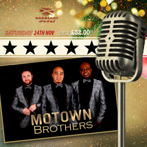 Picture of three Male singers in front of a microphone, Christmas Motown Brothers Tribute Night at the Normandy Hotel, 24th of November 2018. £32 per person