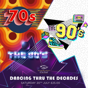 70s 80s & 90s Live tribute night at the Normandy Hotel, 20th July 2019, £25 per person